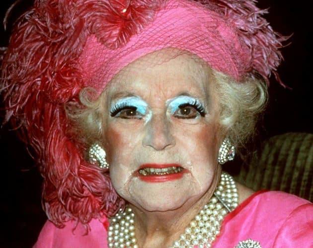 Dame Barbara Cartland closeup with bad makeup