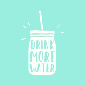 illustration of bottle reading drink more water