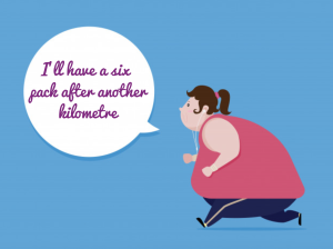 """cartoon of heavy woman running saying """"I'll have a six pack after another kilometre"""""""