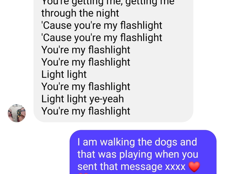 lyrics to the song Flashlight on a screenshot