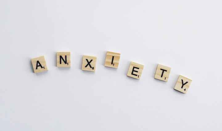 Anxiety spelled out on scrabble tiles