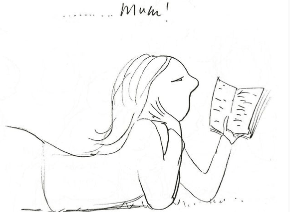 Polly Dunbar drawing of a woman reading