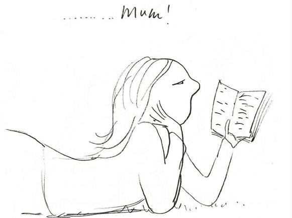 Polly Dunbar drawing of a woman reading