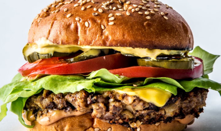 close up of meat free burger looking delicious