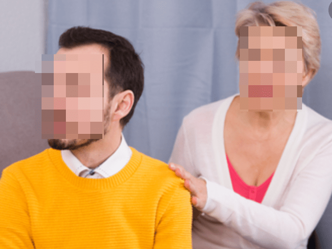 mother and son with negative body language