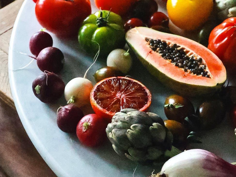 vegan diet of healthy colourful foods